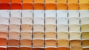 rows of warm colour swatches